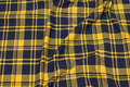 Light stretch-sweatshirt fabric in navy and yellow clan checks.