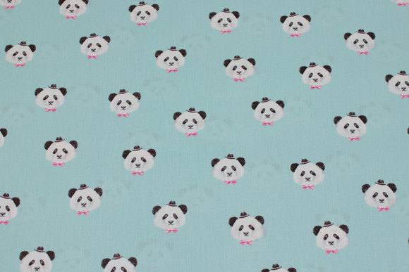 Light turqoise, firm cotton with ca. 3 cm panda heads