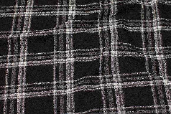 Medium-thickness dress-stretch-crêpe in black and grey