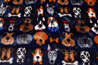 Navy, supersoft micro-fleece with dogs