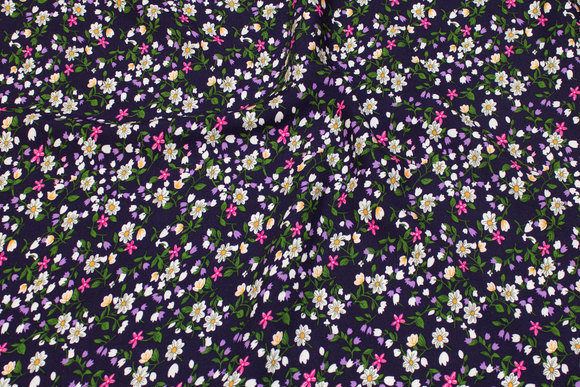 Navy viscose mousselin with small flowers