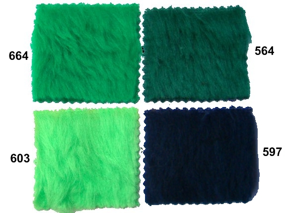 Pile faux fur, green nuances