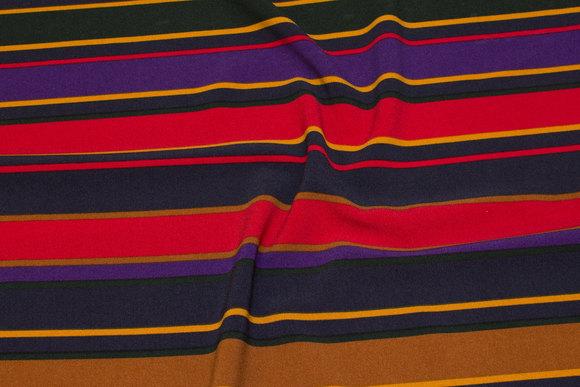Polyester stretch-crêpe in red, purple, cinnamon
