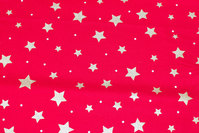 Red christmas-cotton with ca. 1-2 cm gold stars and dots