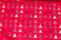 Red christmas-cotton with ca. 2 cm christmas trees
