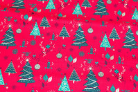 Red christmas-cotton with ca. 3-7 cm green trees