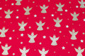 Red christmas-cotton with ca. 5 cm golden angels.