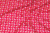 Red christmas-cotton with small reindeer in white and gold