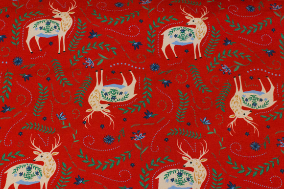 Red, light sweatshirt fabric with 6 cm big deer