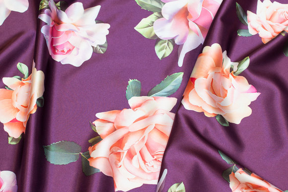 Red-purple, light stretch-satin with big soft red and peach-colored roses