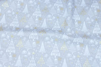 Sand-colored christmas-cotton with off white trees and gold