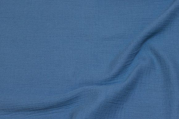 Soft, double-woven cotton (gauze) in dark dove-blue