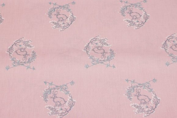 Soft red firm cotton with grey hares