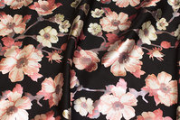 Thick, black scuba-jersey with soft red flowers in shiny print
