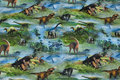 Blue and green cotton-jersey with 2-6 cm dinosaurs.
