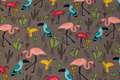 Dirt-colored sweatshirt fabric with ca. 7 cm flamingos.