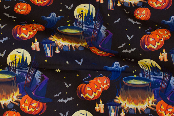 Black Halloween poplin with ghosts and pumpkins