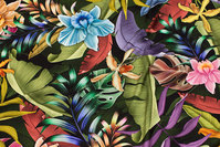 Viscose jersey with beautiful exotic flowers and leaves
