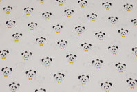 White firm cotton with ca. 3 cm panda heads