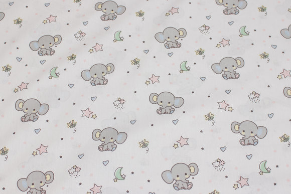 White firm cotton with ca. 4 cm light grey elephants