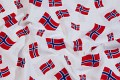 White cotton with norwegian flags. 5,23