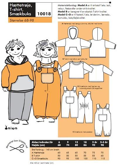 Hooded shirt, T-shirt, overalls
