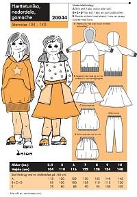 Onion 20044. Hood tunic, skirts, leggings.