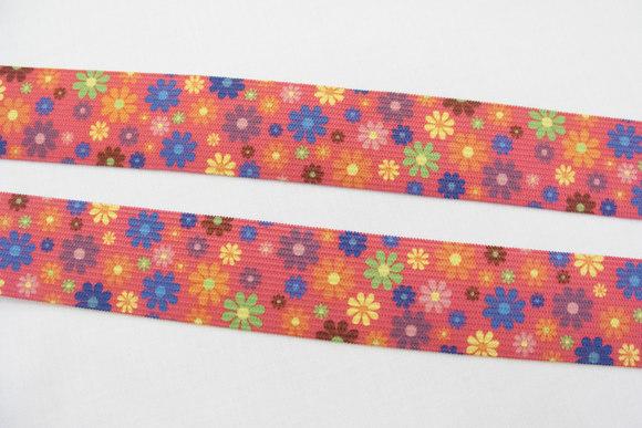 Pink elastic flowers 2,9cm
