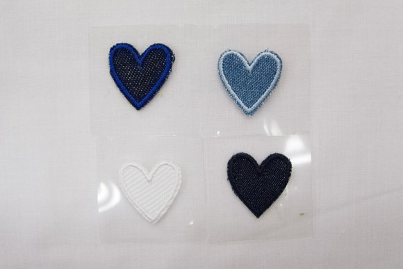 Denim heart iron-on patch 2x2cm