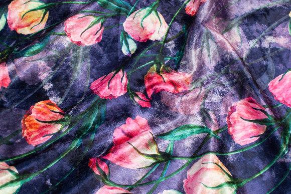 Dark blue-purple velvet-stretch with pink flowers