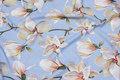 Helt lightweight, sky-blue polyestercrepe with magnolier