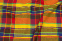 Large-checks cotton in yellow, red and purple