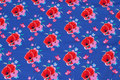 Cobolt-blue cotton-jersey with red 5 cm poppies