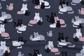 Charcoal cotton-jersey with cats in black, grey and soft red