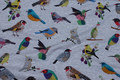 Grey-speckled lightweight sweatshirt fabric with birds
