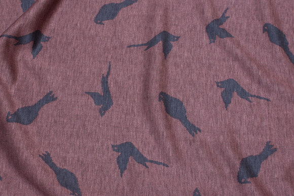 Old rose heavyjersey with grey birds