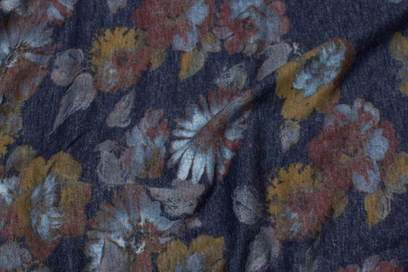 Speckled navy jerseyknits with golden and brown flowers