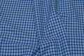 Pre-shunk blue-checks shirt-fabric