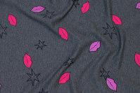 Charcoal lightweight sweatshirt fabric with stars and lips