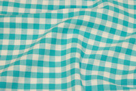 Checked cotton in turqoise and white