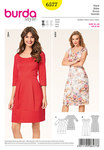 Burda 6577. Dress with panel seams, heart neckline .