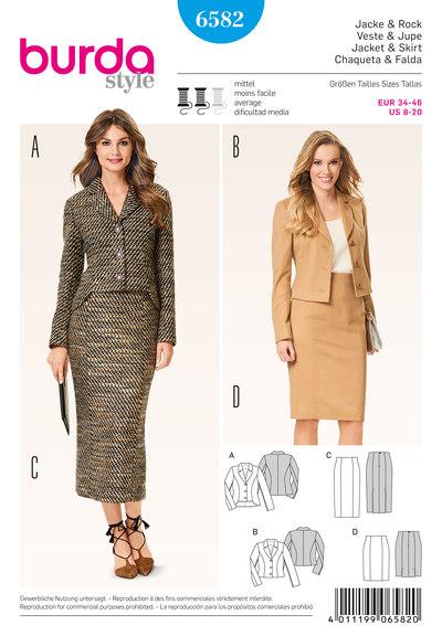 Jacket-skirt suit/coordinates, pencil skirt