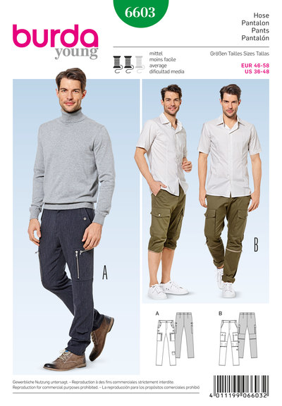 Pants/trousers, straight leg, worker style