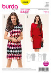 Burda 6604. Dress, narrow form, knit band.