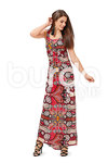 The small pleats on the upper dress and on the skirt are held by the high waist seam and spring open in a fan shape. The maxi length with a small train of bright print fabric is appropriate for evenings.