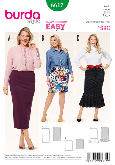 Narrow jersey skirt, no fastening