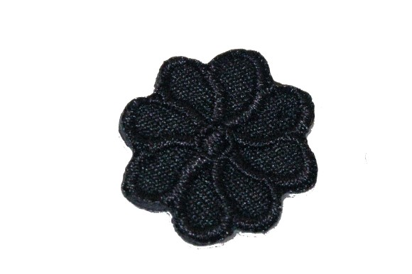 Tiny black flower iron on patch ø 2 cm