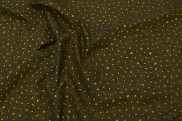 Coated cotton in olive green with gold stars