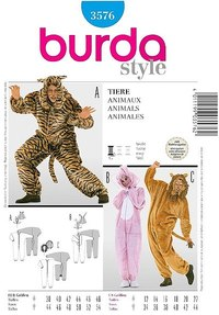 Costumesuit, lion, bear, bunny. Burda 3576.