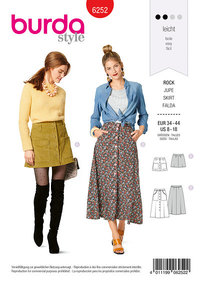 Skirt, Flared, Front Button Down Fastening. Burda 6252.